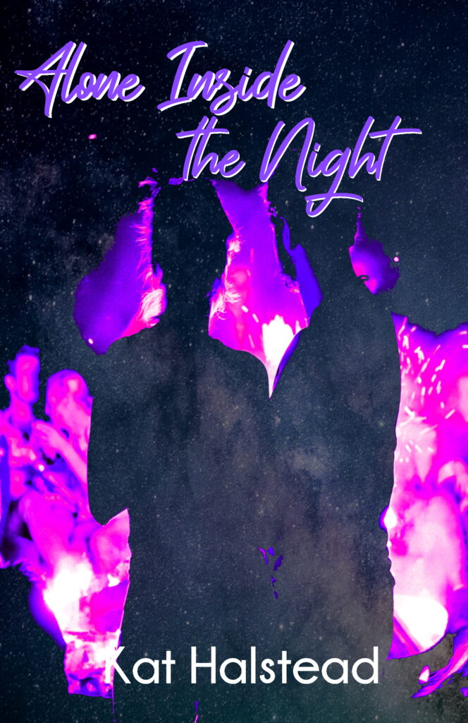Alone Inside the Night book cover. Couple in front of a bonfire with purple text for title.